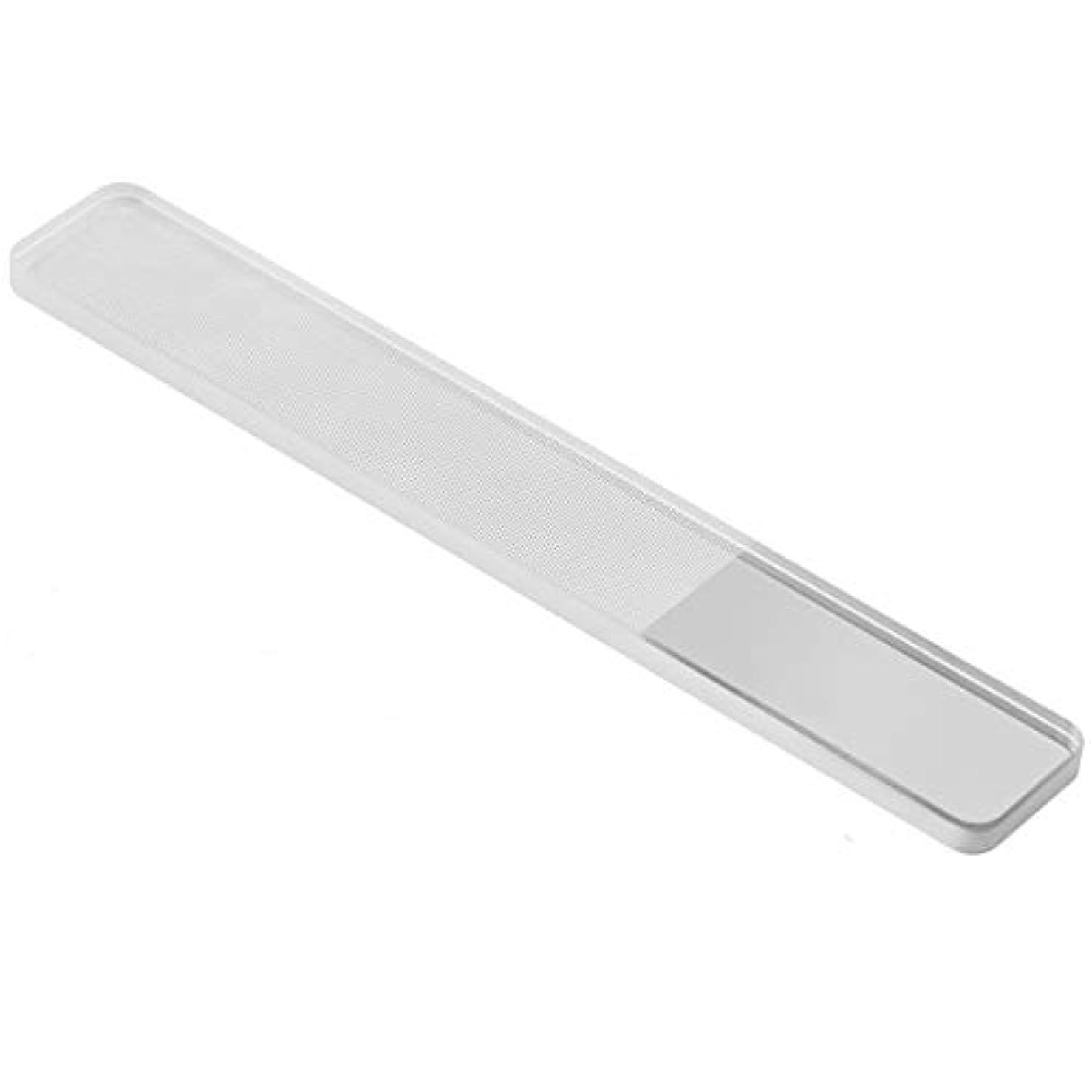 白いオーバーヘッドフィード爪やすり ガラス 爪磨き ネイルシャイナー ピカピカ ネイルケア