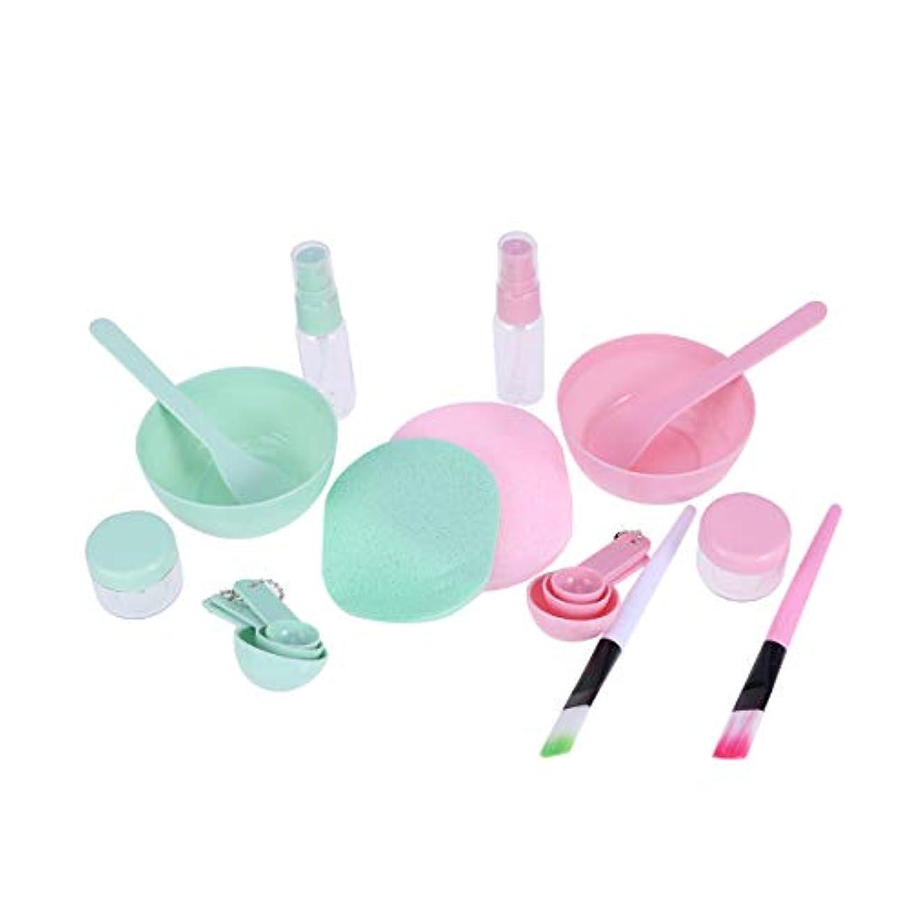 確認してください移行する韻Lurrose 2セット/ 9個DIYフェイスマスクミキシングボウルセットフェイスマスクミキシングツールキット付きシリコンフェイスマスクブラシフェイシャルマスクボウルスティックヘラゲージパフ女性用(ピンク+グリーン)