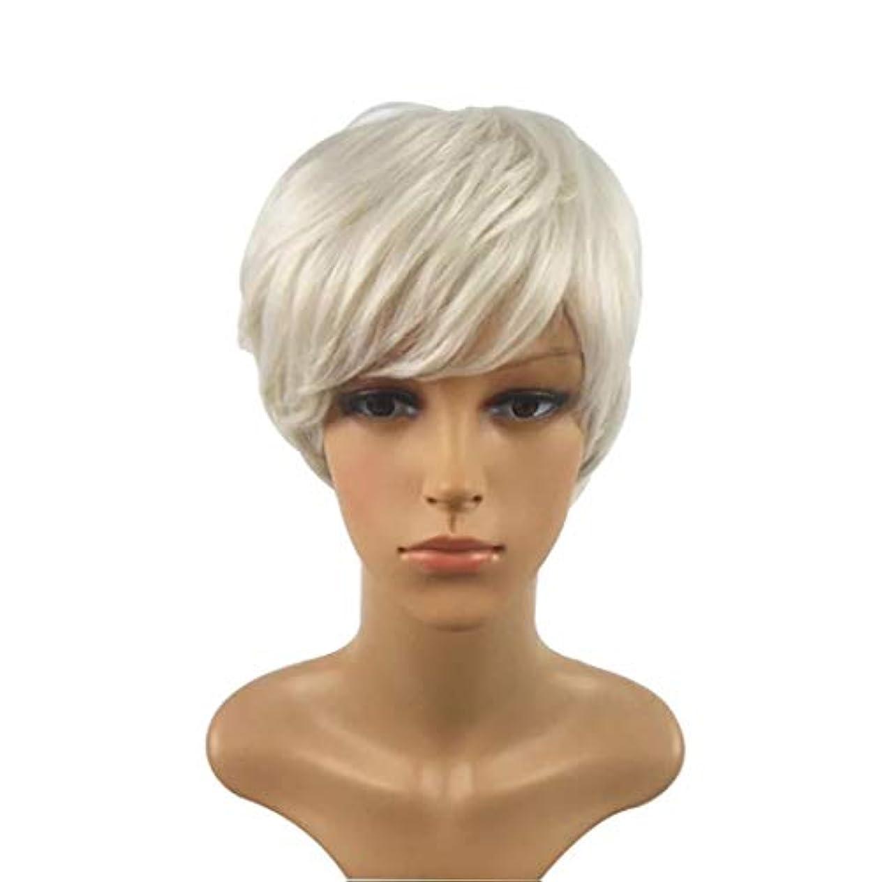取り扱い有望岸Kerwinner 短い巻き毛のかつら髪かつら女性のための自然な耐熱フルウィッグ