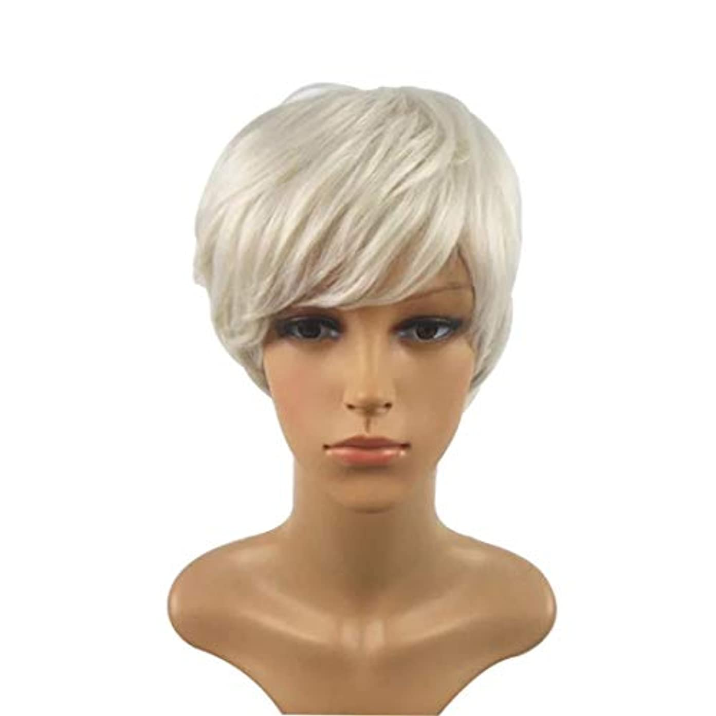 カヌーいわゆる塗抹Summerys 短い巻き毛のかつら髪かつら女性のための自然な耐熱フルウィッグ