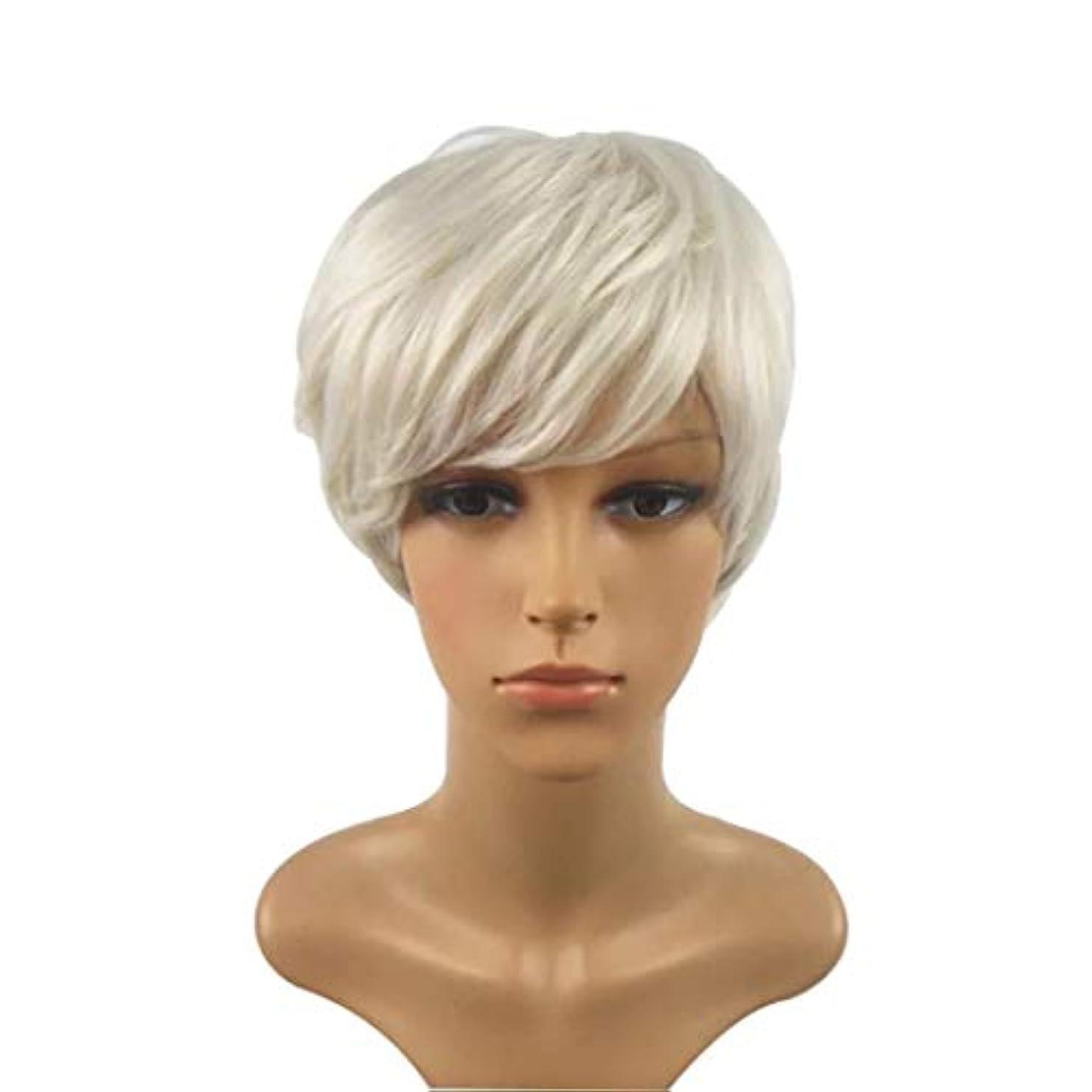 インク熱帯の高度Summerys 短い巻き毛のかつら髪かつら女性のための自然な耐熱フルウィッグ