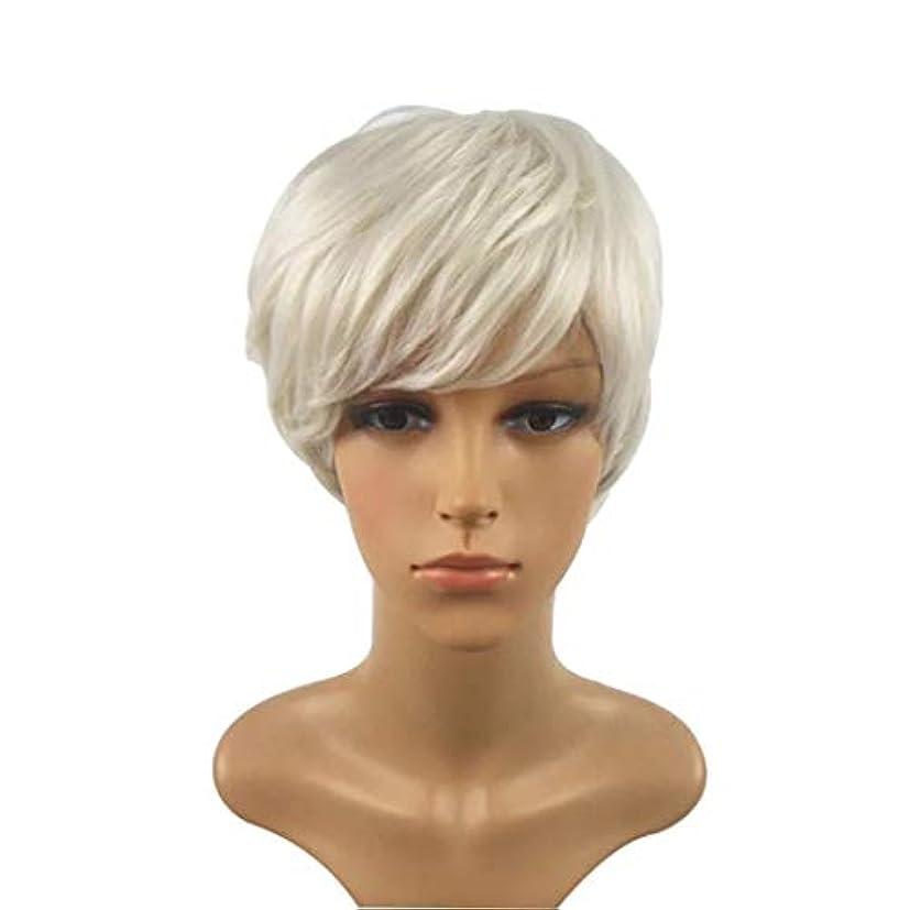 輸血真鍮カヌーKerwinner 短い巻き毛のかつら髪かつら女性のための自然な耐熱フルウィッグ