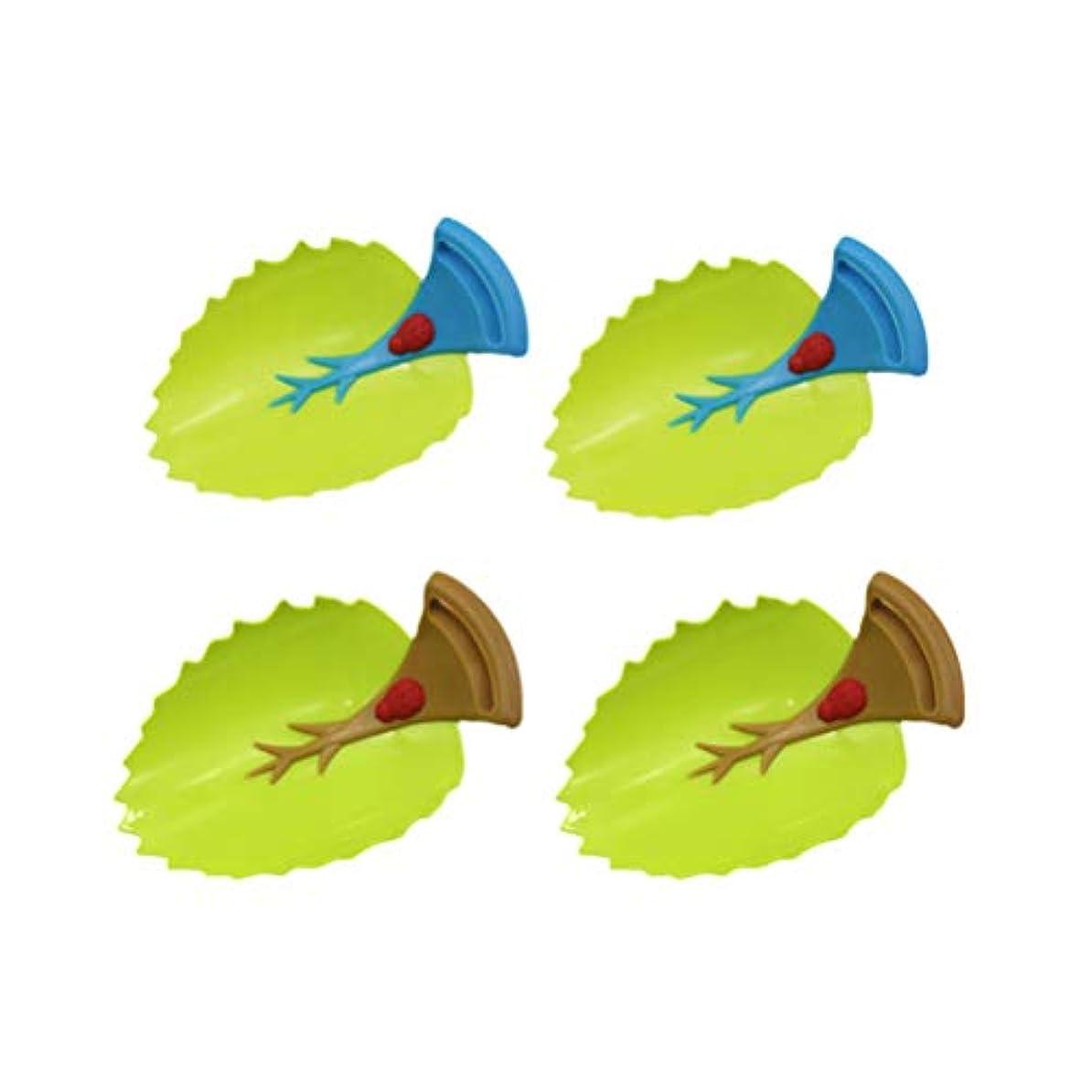 鋼バズ直立Toyvian 子供4本のための蛇口エクステンダリーフデザイン手洗い水道水ガイドツール