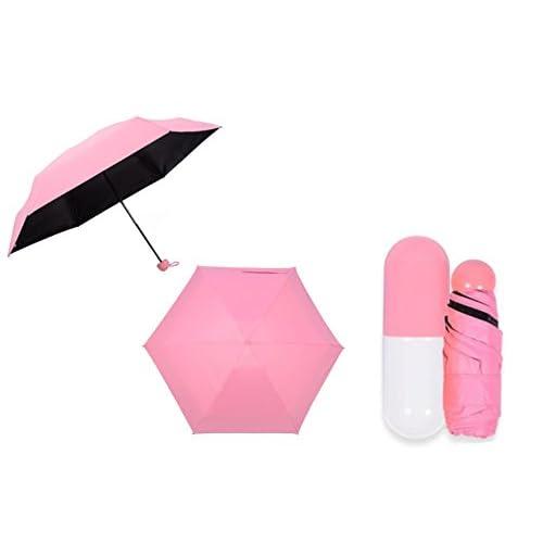 ELEEJE カバンの中に入れても濡れない 収納ケース 付き 折り畳み傘 セット (ピンク)