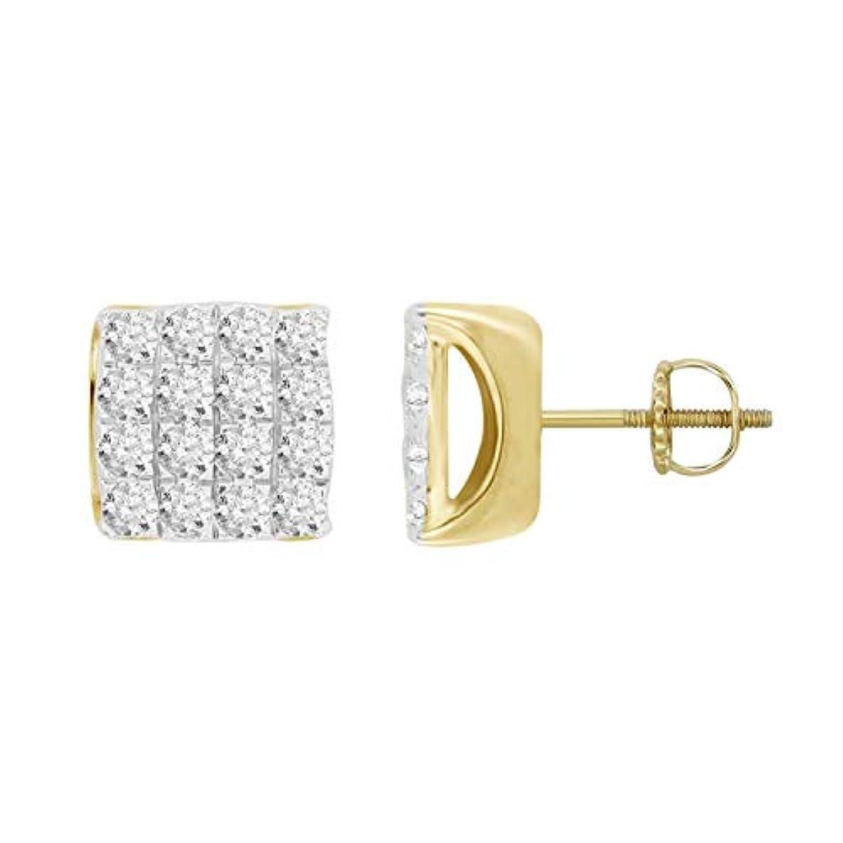 宇宙のご注意ディスコメンズ 10k イエローゴールド 天然ダイヤモンド スクエア クラスタッド ピアス (0.75 cttw、I-J カラー、I2 クラリティ) 8.50 mm