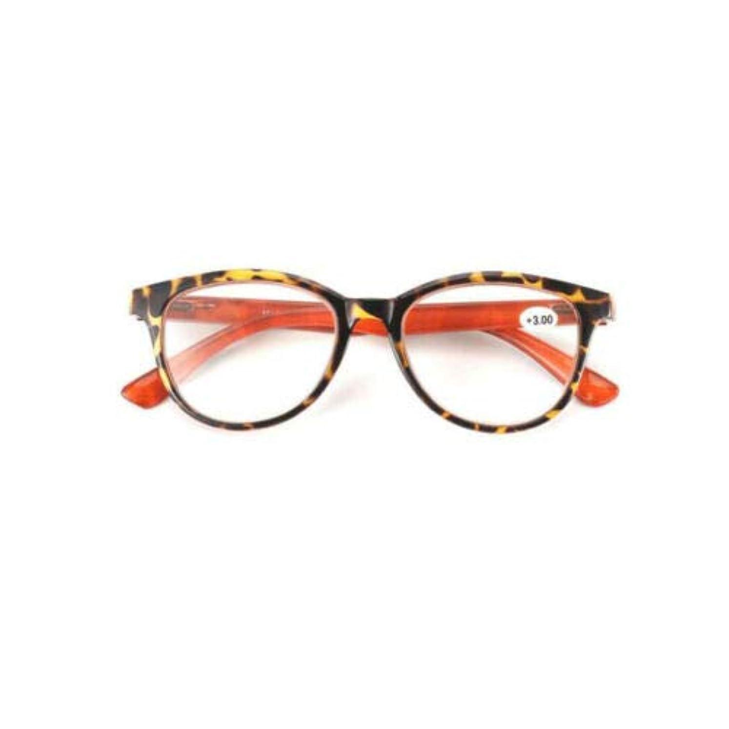 手入れテスピアン学部長FidgetGear ラウンド老眼鏡女性男性眼鏡プラスチックフレームアイリーダー+ 1.0?+ 3.5 ヒョウ