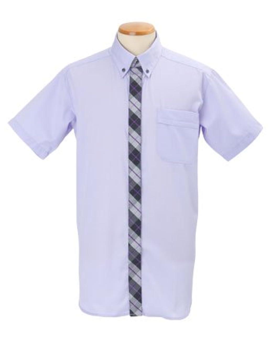 学校教育プログレッシブリールMOVITOMO 半袖 メンズシャツ 3L パープル リッチチェック