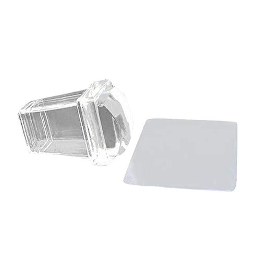 意識コードレス定刻Gaoominy 新しい純粋で透明なゼリーシリコンのネイルアートスタンパーとスクレーパーのセット、透明ポリッシュ印刷ネイルのスタンピングツール、ネイルのツール、マニキュア