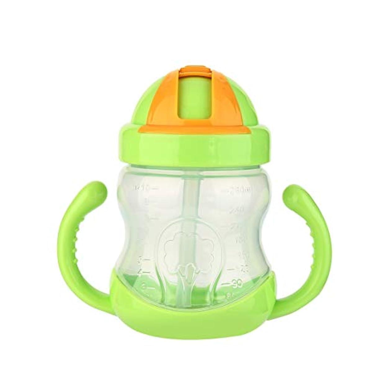 葉巻決定する野な280mlかわいい哺乳瓶ストロー子供子供学習シリコンミルクニブラー供給安全ボトルハンドル注ぎ口-グリーン