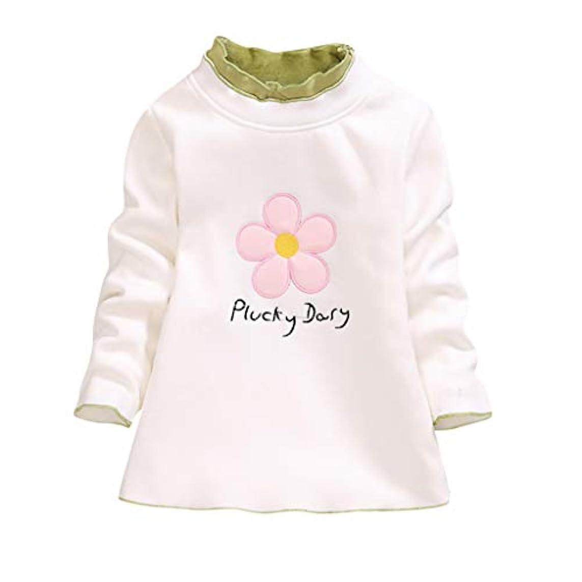保安避難眩惑するpiucky dasy トップスベルベット ボトミングシャツ子供赤ちゃんTシャツ花柄ラウンドカラー 可愛い女の子上着(2歳-6歳)