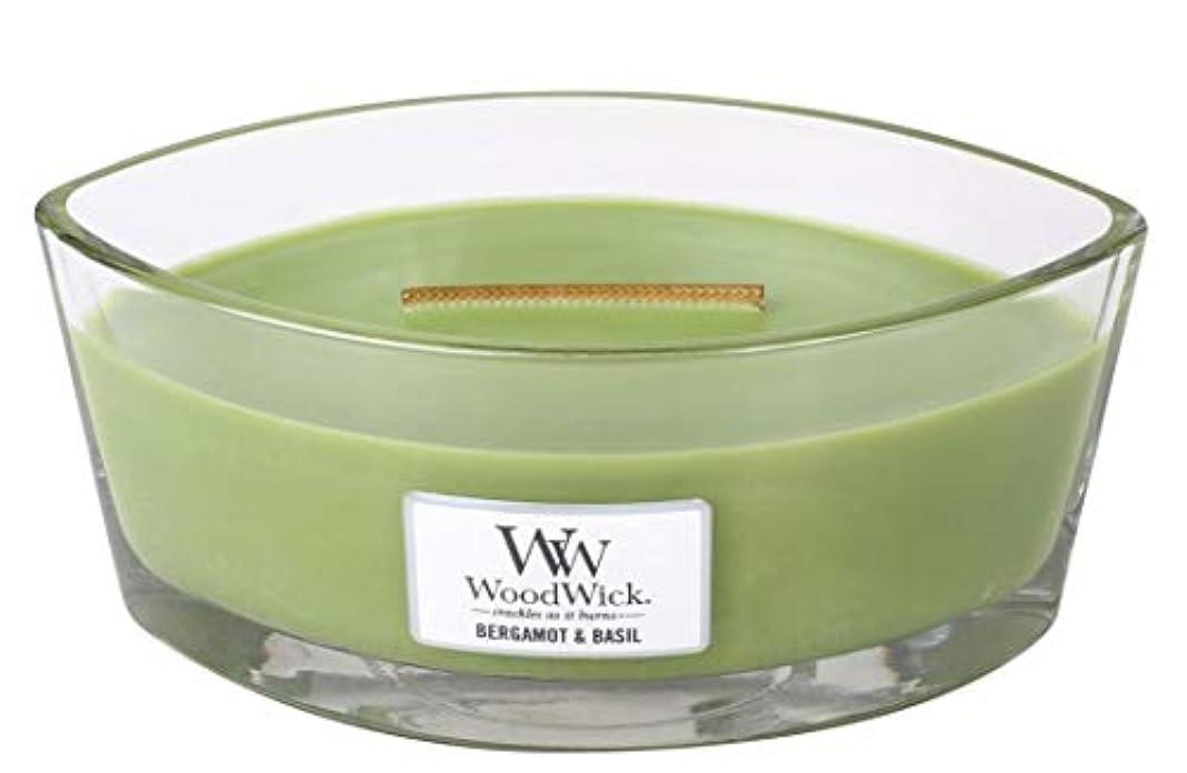 植生刺繍興奮WoodWick ベルガモット/バジルキャンドル Ellipse 76058
