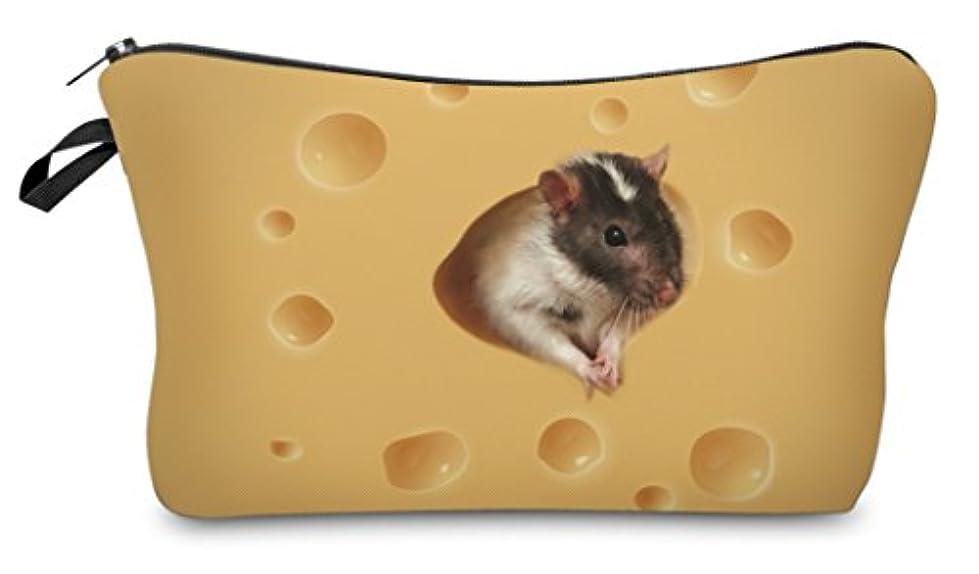 高齢者メタン作る( 560kick ) チーズ と ネズミ 柄 ポーチ メイクグッズ 収納
