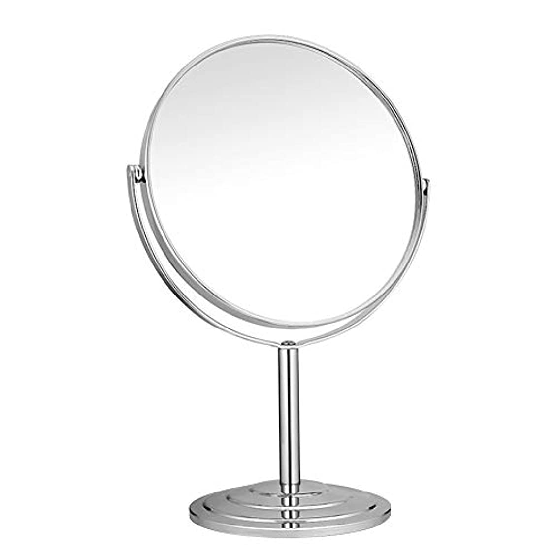 やがて情熱出来事RAAKIMO 卓上化粧鏡 メイクミラー 3倍拡大鏡+等倍鏡 両面型 スタンド 360度回転 シルバー (鏡面15cm)