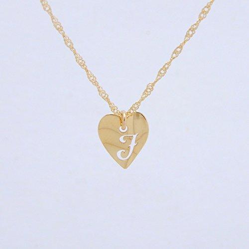 Heart Initial J 18金製 K18 gold ゴールド (日本製 Made in Japan) (金属アレルギー対応) イニシャル 「J」 波型 ハート プレート ペンダント ネックレス スクリュー チェーン ジュエリー (Amazon.co.jp 限定) [HJ] (50 センチメートル)