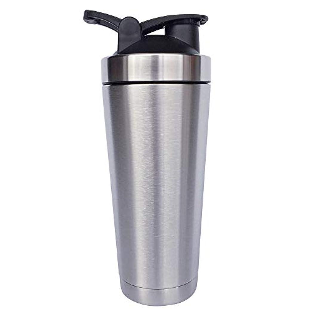 シェーカーボトル-二重壁ステンレス鋼 & 真空断熱-時間のためのホットまたはコールドドリンクをキープ-臭気耐性抗菌汗プルーフ-環境にやさしい無毒 (銀),720ml