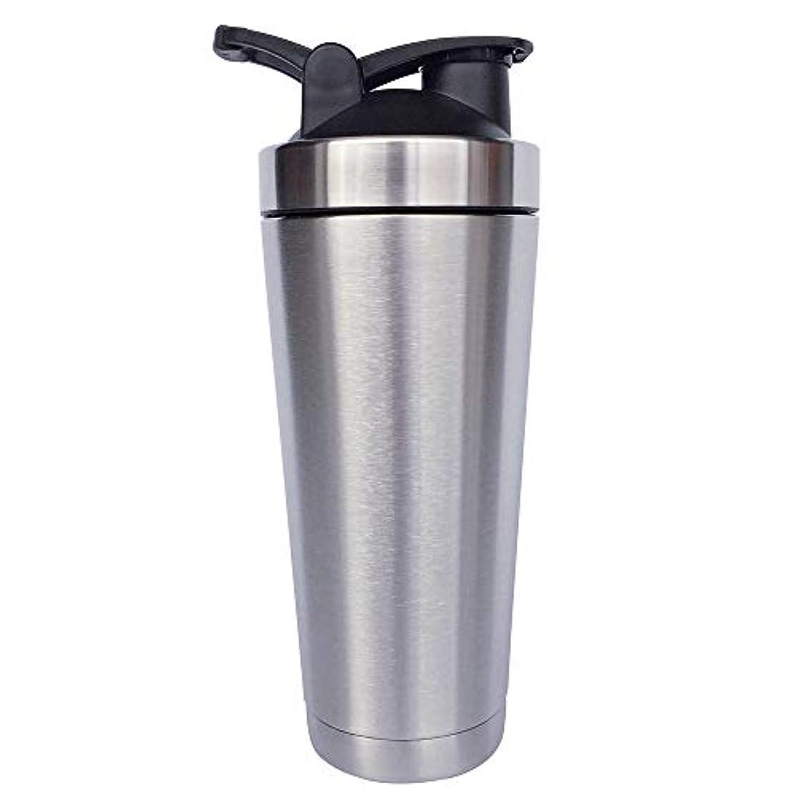 サロンセイはさておき船尾シェーカーボトル-二重壁ステンレス鋼 & 真空断熱-時間のためのホットまたはコールドドリンクをキープ-臭気耐性抗菌汗プルーフ-環境にやさしい無毒 (銀),720ml