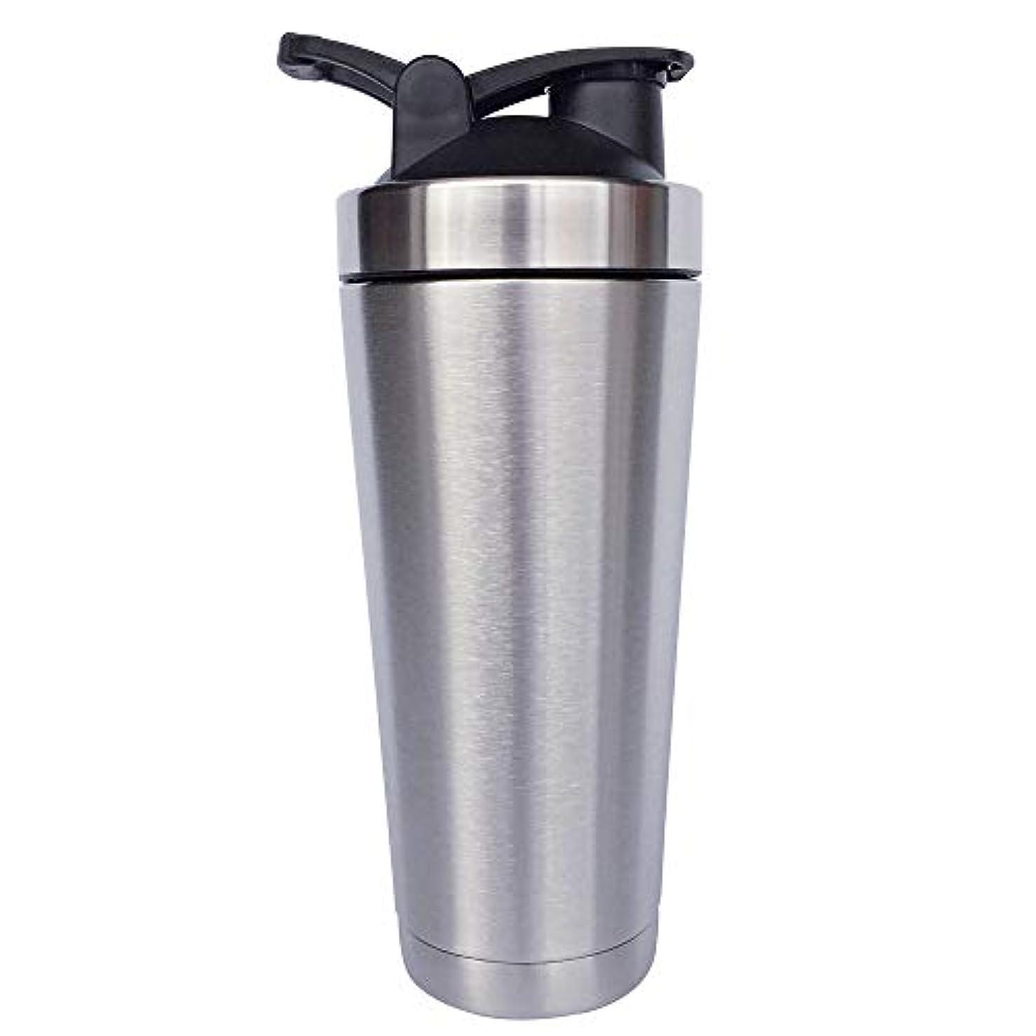 エミュレートする殉教者論争シェーカーボトル-二重壁ステンレス鋼 & 真空断熱-時間のためのホットまたはコールドドリンクをキープ-臭気耐性抗菌汗プルーフ-環境にやさしい無毒 (銀),720ml