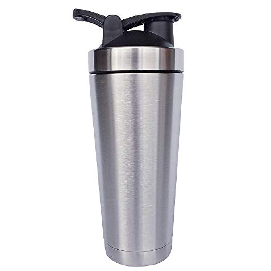 マングル拮抗その他シェーカーボトル-二重壁ステンレス鋼 & 真空断熱-時間のためのホットまたはコールドドリンクをキープ-臭気耐性抗菌汗プルーフ-環境にやさしい無毒 (銀),720ml