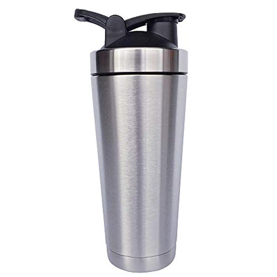 ラフ睡眠産地自動シェーカーボトル-二重壁ステンレス鋼 & 真空断熱-時間のためのホットまたはコールドドリンクをキープ-臭気耐性抗菌汗プルーフ-環境にやさしい無毒 (銀),720ml