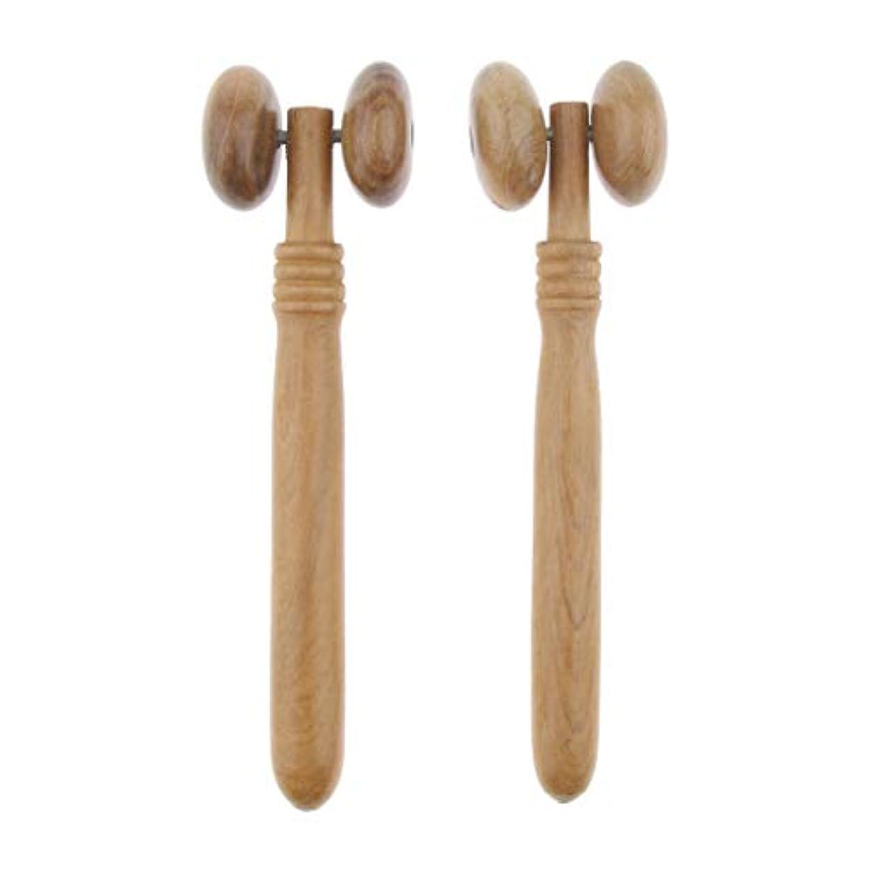 ファウル二次宮殿Perfeclan フェイスローラー マッサージャー 木製 按摩器 手動式 首 顔 ネック ボディ 多機能 使いやすい