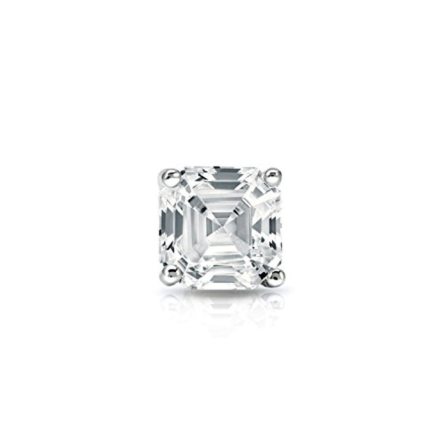 受信機十分な椅子18 Kホワイトゴールド4プロングMartini Asscherダイヤモンドメンズシングルスタッドイヤリング( 1 / 4 – 1 CT、ホワイト、si1-si2 ) push-back