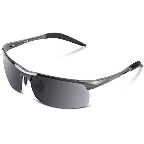 COSVER ファッション スポーツ サングラス 男女兼用 偏光レンズ 運転 ジョギング 自転車/釣り/野球/テニス/スキー/ランニング/ゴルフ/ドライブ - マグネシウム合金 (グレー)