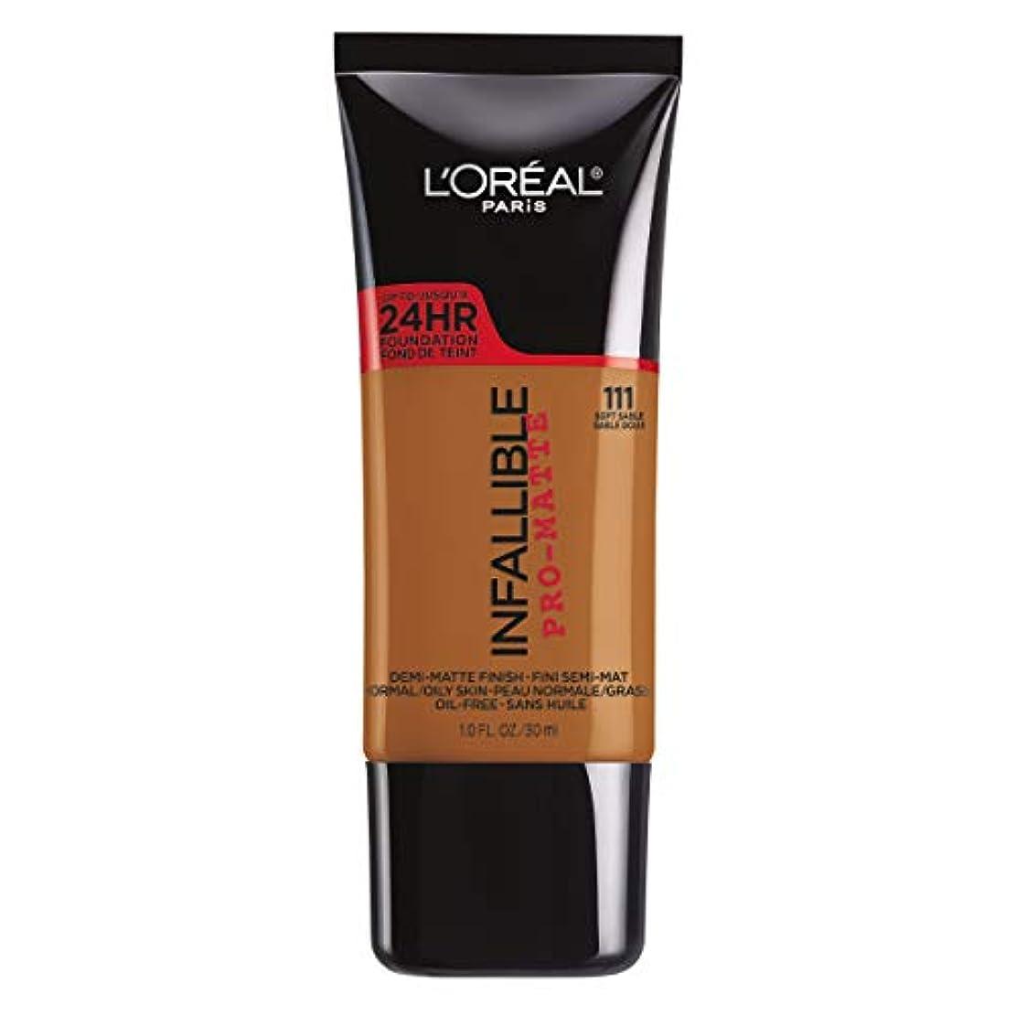 パン荒らす死の顎L'Oreal Paris Infallible Pro-Matte Foundation Makeup, 111 Soft Sable, 1 fl. oz[並行輸入品]