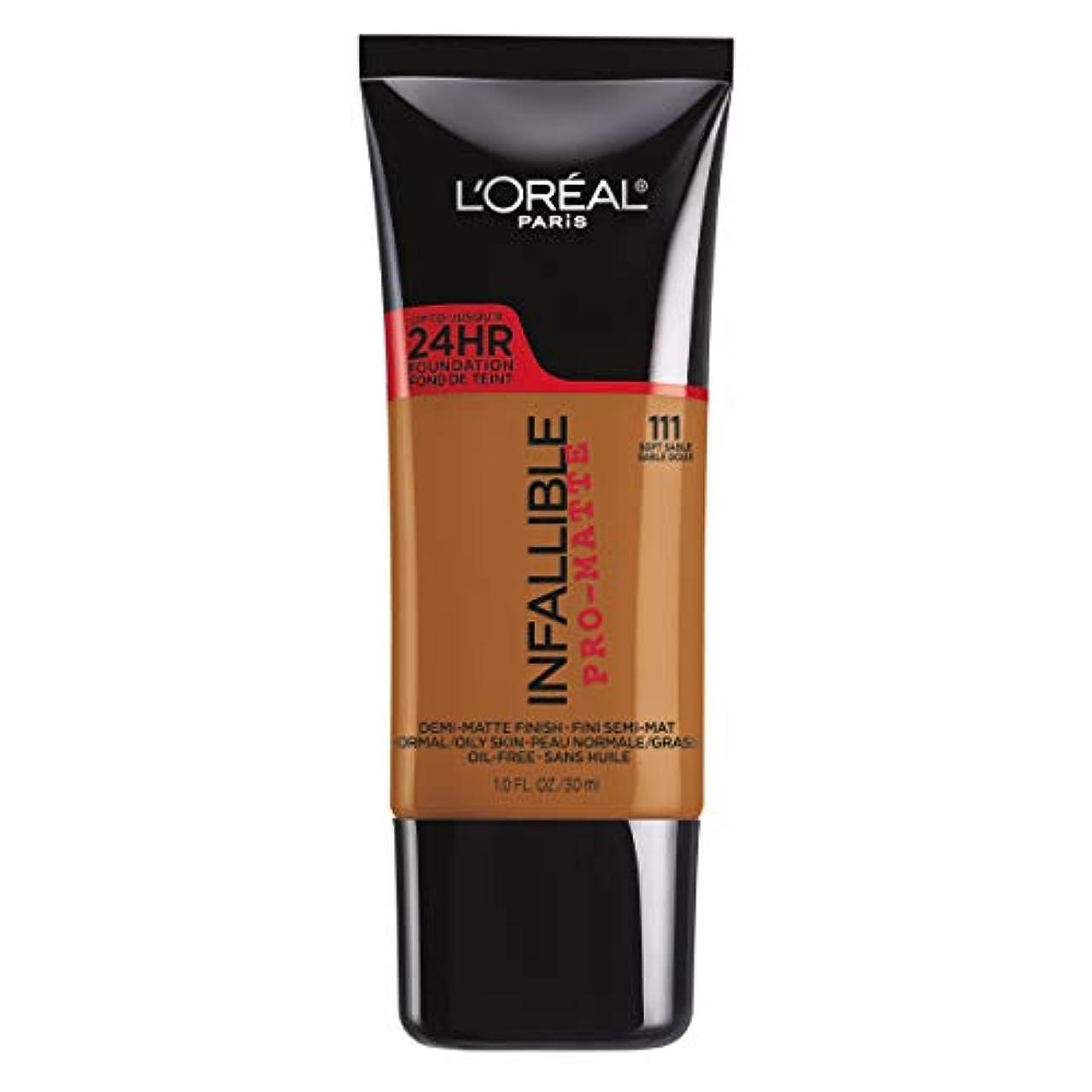 団結する雑多な勇気L'Oreal Paris Infallible Pro-Matte Foundation Makeup, 111 Soft Sable, 1 fl. oz[並行輸入品]