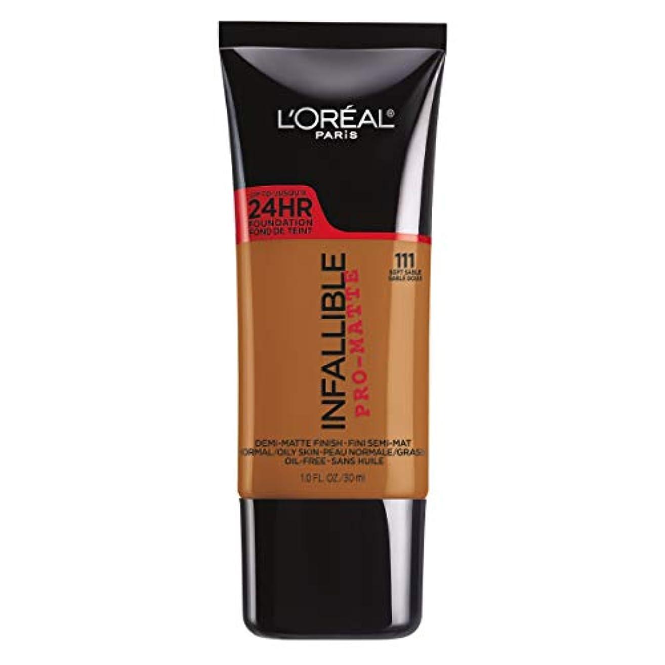 ハンドブッククリックスープL'Oreal Paris Infallible Pro-Matte Foundation Makeup, 111 Soft Sable, 1 fl. oz[並行輸入品]