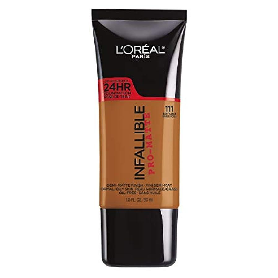 難しい抽象化分析的L'Oreal Paris Infallible Pro-Matte Foundation Makeup, 111 Soft Sable, 1 fl. oz[並行輸入品]