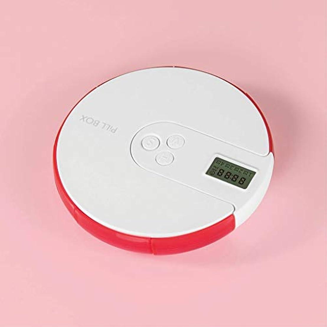 スマートタイミング家庭用ピルボックス一週間小キットピルボックスポータブルミニ電子キット薬のリマインダーポータブルキット LIUXIN (Color : Red, Size : 11cm×2cm)