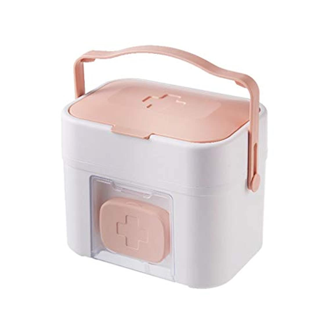 滅びる頑丈リアルBBJOZ 家庭用機器携帯用外来緊急医療キット薬箱家庭用薬箱大型薬収納ボックス (Color : Pink)