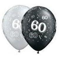 Age 60 / 60th Birthdayブラック&シルバー11ラテックスバルーンX 5 by Qualatex