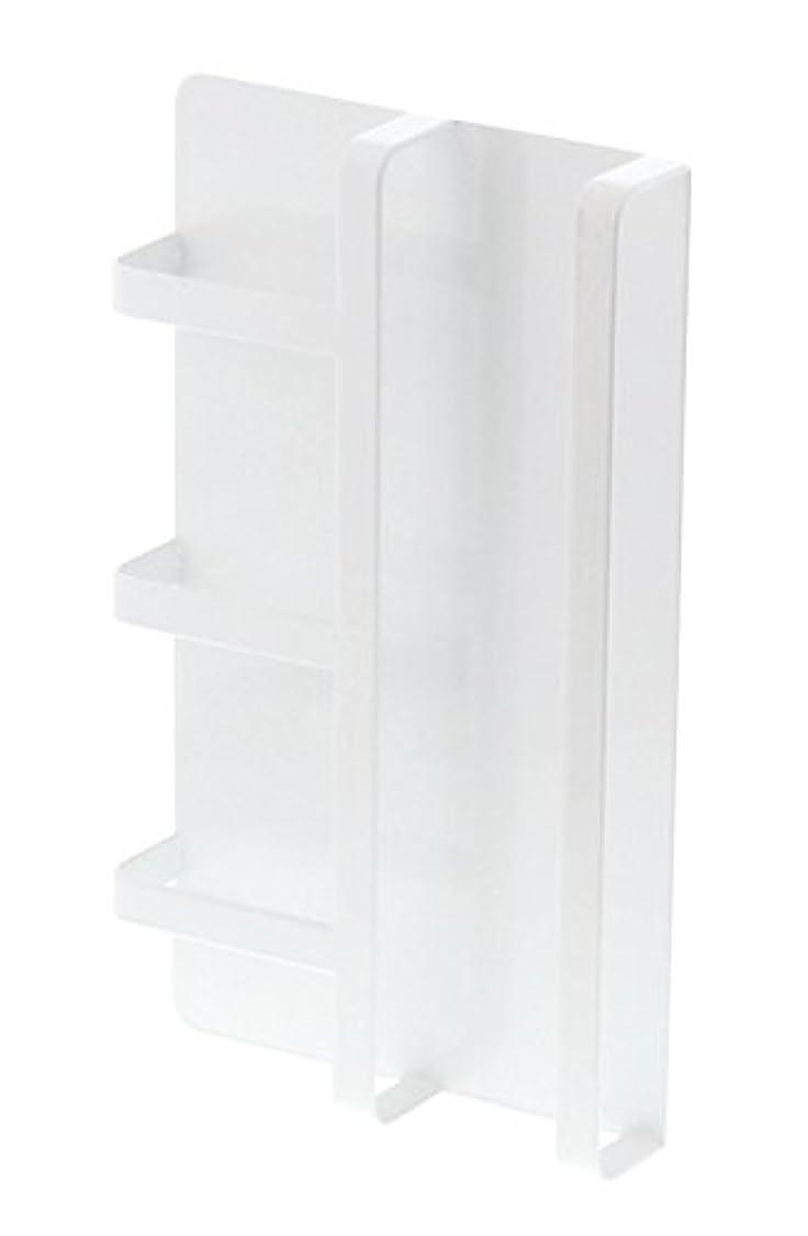 きちんとした配分エチケット【山崎実業】 マグネット冷蔵庫サイドレシピラック タワー ホワイト 3501