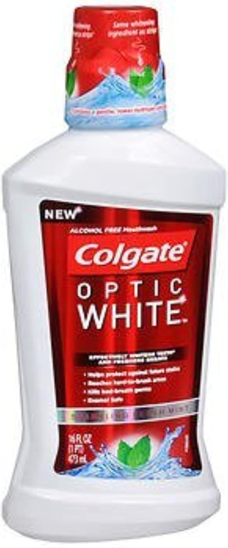 癌夫婦寄り添うColgate オプティックホワイトマウスウォッシュ、スパークリングフレッシュミント16オンス(3パック)
