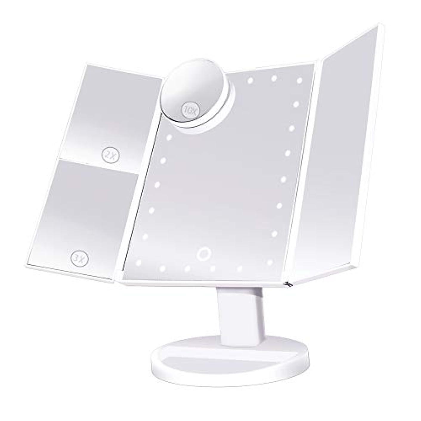 見捨てられた衝撃に応じてsoafiya 化粧鏡 化粧ミラー 鏡 三面鏡 女優ミラー 卓上 led付き 折りたたみ 拡大鏡 2&3倍 明るさ調節可能 180°