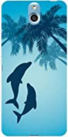 かんたんスマホ 705KC TPU ソフトケース イルカとヤシの木 Y!mobile ワイモバイル スマホケース スマホカバー デザインケース
