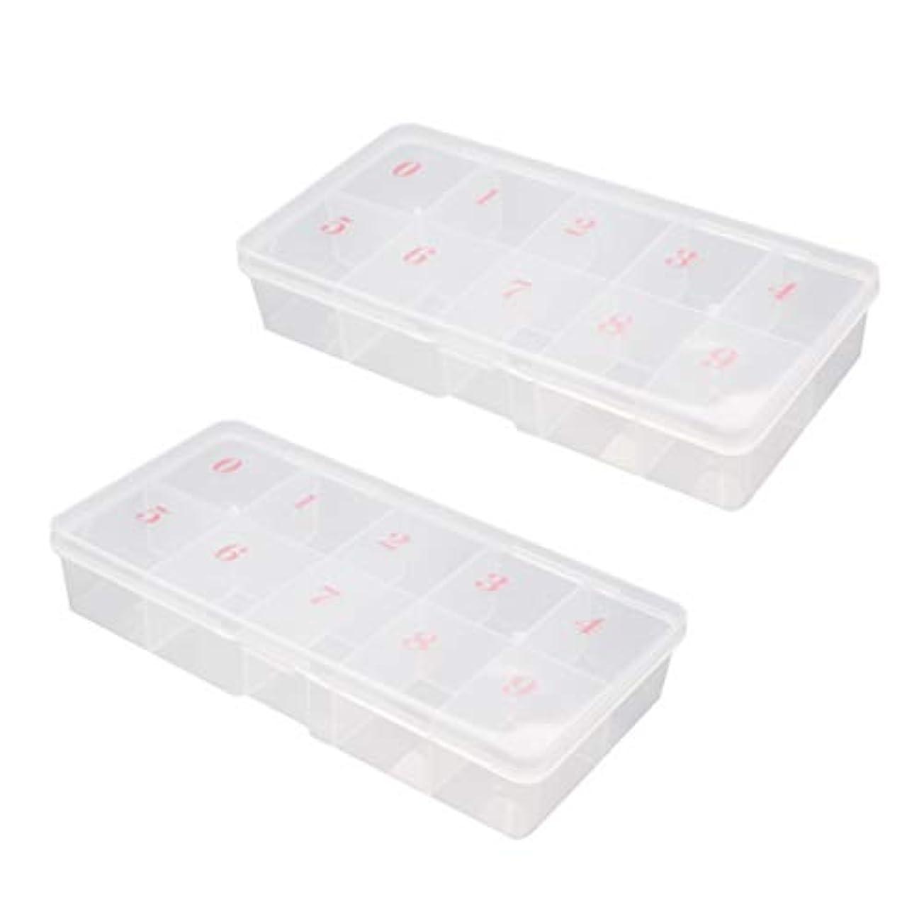 結果としてブリッジ友情Minkissy 2ピース偽ネイルアートのヒント収納ボックス10グリッドプラスチックグリッドボックス収納オーガナイザー付き数字イヤリングリングケースディスプレイコレクション