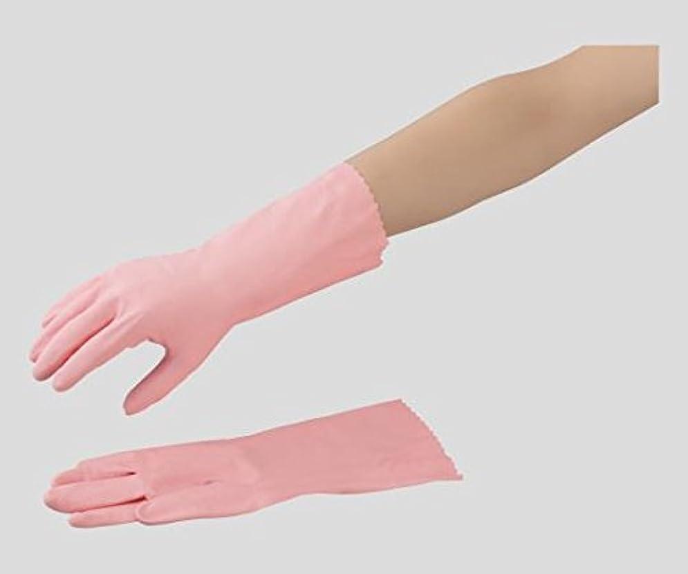 拒否露出度の高いレールショーワグローブ2-9731-01ニトリルラテックス手袋中厚手裏毛付ピンクS