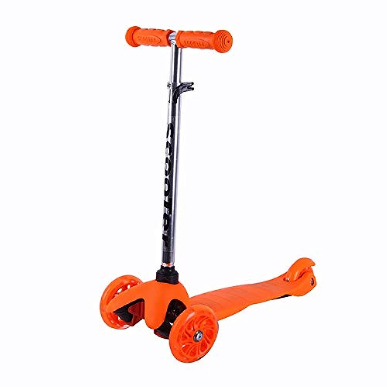 キックスクーター 5から14歳までの子供のための広いデッキが付いている子供3の車輪のTバーの調節可能な高さのハンドルの蹴りのスクーターのためのスクーター (色 : オレンジ)