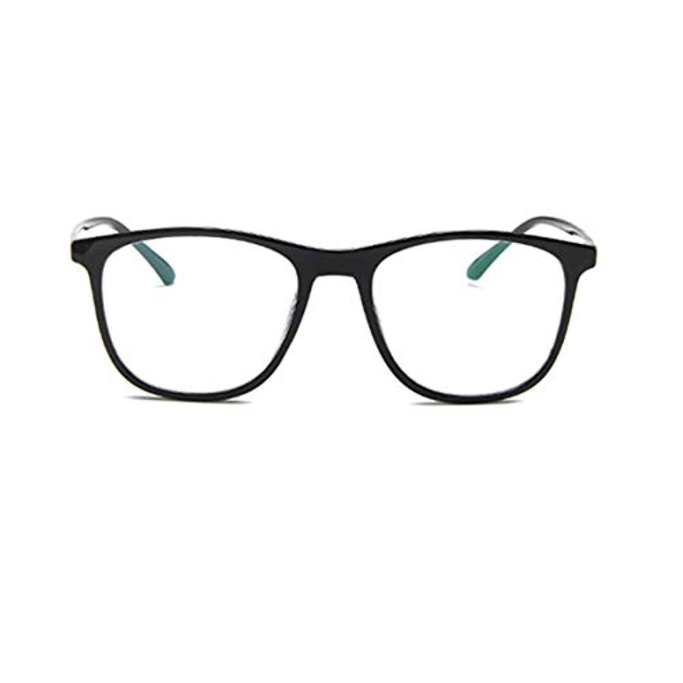 振る紫の艦隊韓国の学生のプレーンメガネの男性と女性のファッションメガネフレーム近視メガネフレームファッショナブルなシンプルなメガネ-ブライトブラック