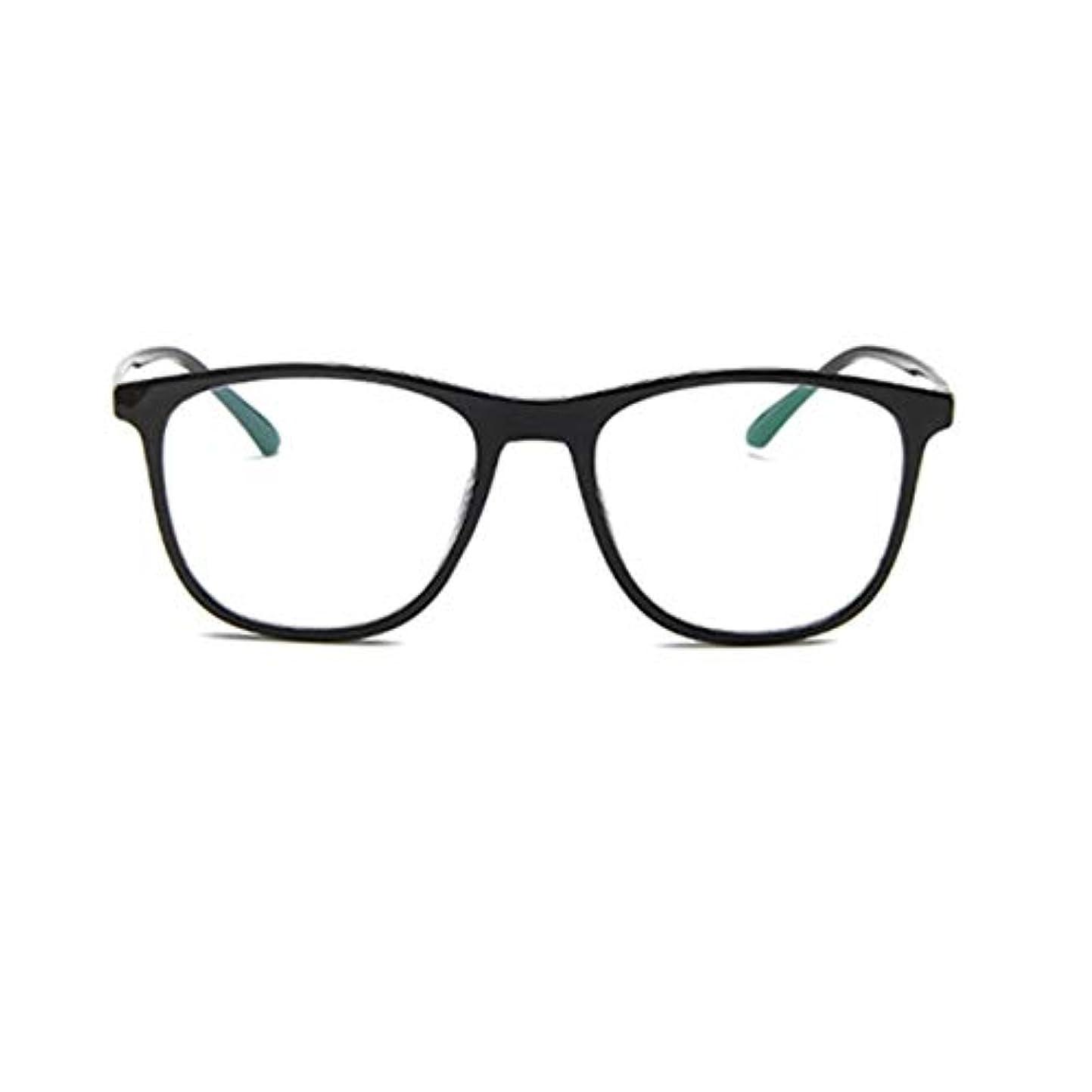 幻滅軍隊のヒープ韓国の学生のプレーンメガネの男性と女性のファッションメガネフレーム近視メガネフレームファッショナブルなシンプルなメガネ-ブライトブラック