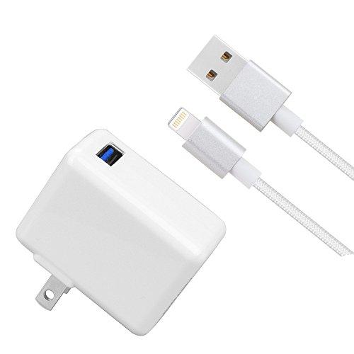 [ UL Listed ] iPad / iPhone充電器、lovepea 2.4A 12W USB壁充電器折りたたみ式ポータブル旅行プラグwith 5ft Lightning編みケーブルfor iPhone X / 8/ 8plus / 7/ 7plus / 6s / 6splus / 6/ 6plus / SE , iPad / Mini / Air / Pro、