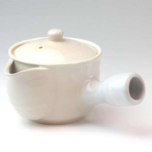 萩焼(はぎやき) 牡丹急須半白/茶こし付・白箱付
