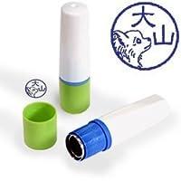 【動物認印】犬ミトメ36・チワワ横顔 ホルダー:グリーン/カラーインク: 青