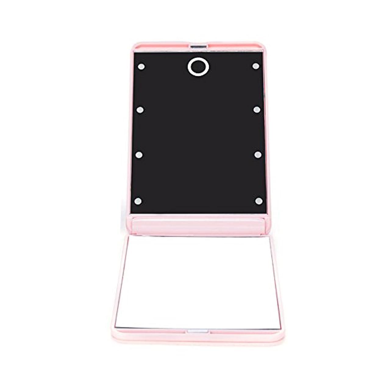 投獄フェッチ代表団ledミラー 折りたたみ式 メイクミラー LEDライト 角度/明るさ調整 コンパクト 化粧鏡 二面鏡 ミラー 2倍拡大鏡付 8灯手鏡 ピンク