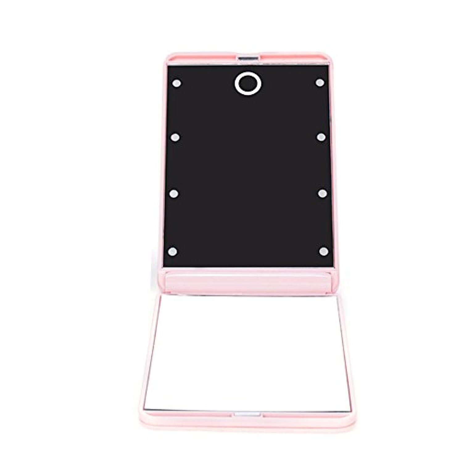 クラシカル居住者変わるledミラー 折りたたみ式 メイクミラー LEDライト 角度/明るさ調整 コンパクト 化粧鏡 二面鏡 ミラー 2倍拡大鏡付 8灯手鏡 ピンク