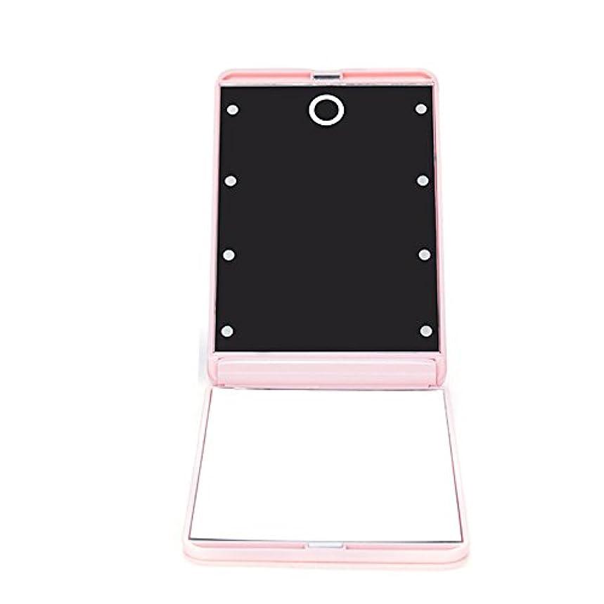 理容室連続的啓発するledミラー 折りたたみ式 メイクミラー LEDライト 角度/明るさ調整 コンパクト 化粧鏡 二面鏡 ミラー 2倍拡大鏡付 8灯手鏡 ピンク