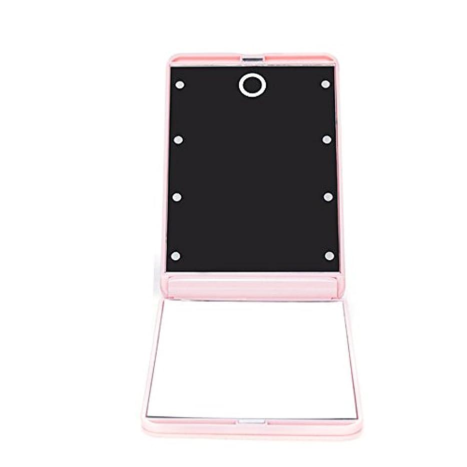 どう?関係する上回るledミラー 折りたたみ式 メイクミラー LEDライト 角度/明るさ調整 コンパクト 化粧鏡 二面鏡 ミラー 2倍拡大鏡付 8灯手鏡 ピンク