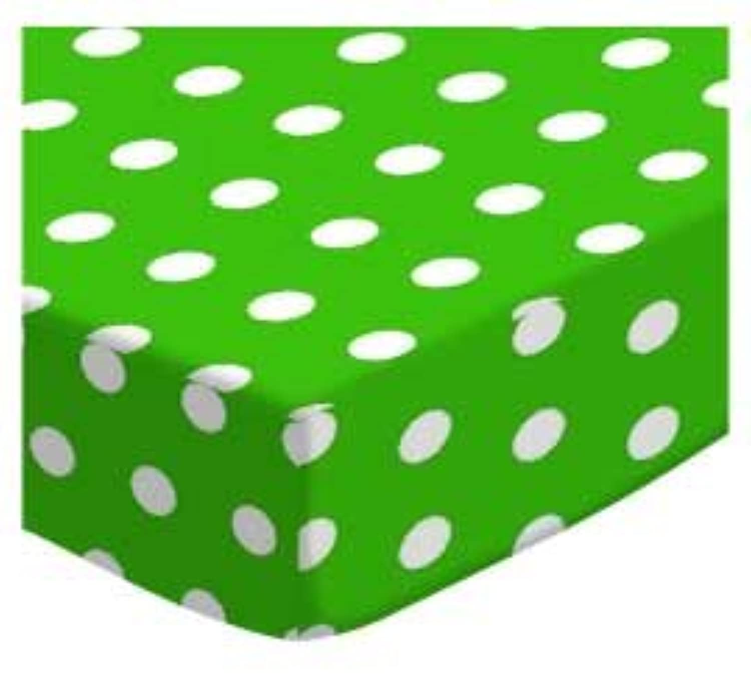 SheetWorld Fitted Cradle Sheet - Polka Dots Green - Made In USA by sheetworld